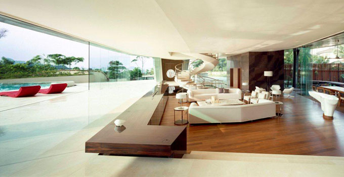 the mainly white interior further enhance the purity of the form and the modern architecture of the house the play of levels with steps going down gently - Inside Huge Houses