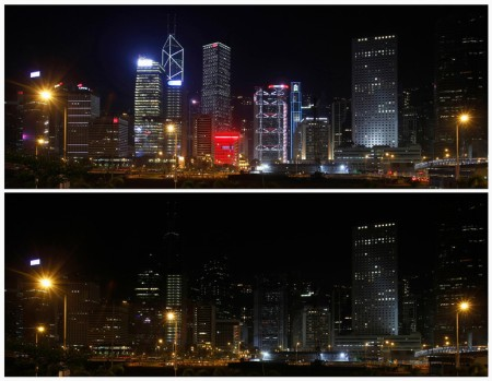Combo photo of the financial Central District of Hong Kong before and during Earth Hour