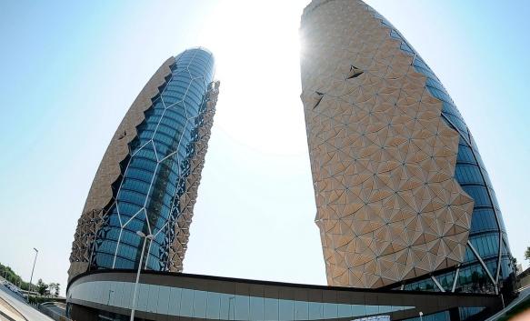 Al Bahar Towers are seen in Abu Dhabi