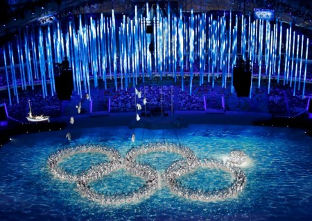 Performers form the Olympic rings during a show at the closing ceremony for the 2014 Sochi Winter Olympics