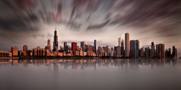 Chicago-Skyline-Sunrise-Red